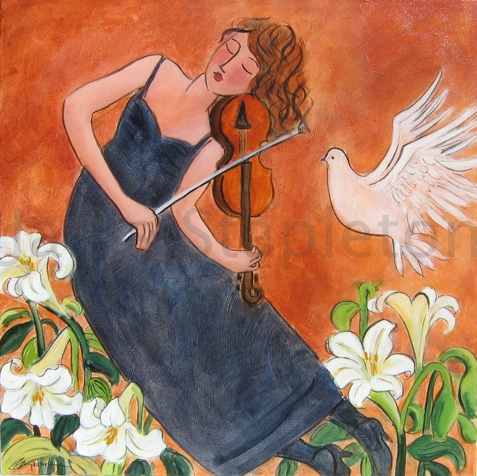 Musician with White Dove and Lilies
